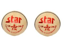 Star White Cricket Ball 4 Pc Leather Pack Of 2 Hand Stitch 5.5Oz Cricket World