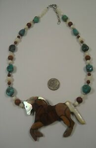 Lee Sands Wacky Friday Wood & Shell Inlaid Horse w Genuine Turquoise Nuggets NK