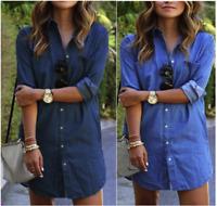 Women's Casual Long Sleeve Vintage Blue Denim Shirt Tops Blouse Casual Coat