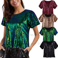 1920s Flapper Women's Sparkly Sequins Tank Tops Vest Casual Loose T Shirt Blouse