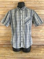Mens Marmot Short Sleeve Shirt Size Small Blue Gray Plaid Button Down Top S/S