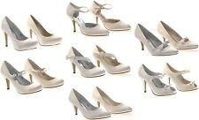 Womens White Ivory Satin Bridal Wedding Court Platforms Heels Shoes Ladies Size
