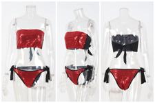 Womens Summer Swimwear Two Piece Bikini Set Padded Push Up Bra Thong Swimsuit