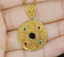 Byzantine Greece Etruscan 18K Solid Gold Ruby Sapphire Emerald Pendant Necklace