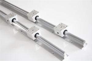 2Pcs SBR12 L300-1500mm  Linear Rails Fully Supported Shaft Rod + 4Pcs SBR12UU