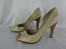 Nine West W Natta Cream Patent Leather Open Toe heels Women's size 9 M EUC