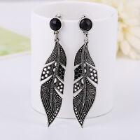 Vintage Women Fashion Black Long Leaf Drop Stud Dangle Earrings Silver Jewelry