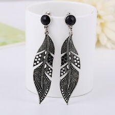 Vintage Women Fashion Black Long Leaf Drop Stud Dangle Earrings Silver Jewelry