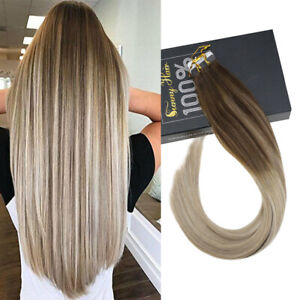 Sunny Remy PU Tape in Hair Extensions Human Hair Balayage Ombre Blonde #4/14/60