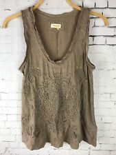 MEADOW RUE SMALL TANK TOP WOMEN'S DISTRESSED EMBROIDERED SEQUINS BROWN *READ* D7