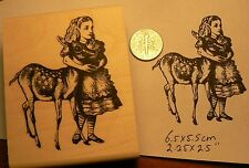 Alice in wonderland with fawn  rubber stamp P50