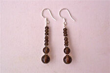 SMOKY QUARTZ & STERLING SILVER DANGLE EARRINGS - EXQUISITE!