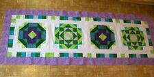 AF0623 Handmade SPRING PATCHWORK BED RUNNER QUILT TOP unfinished 75 x 26 new