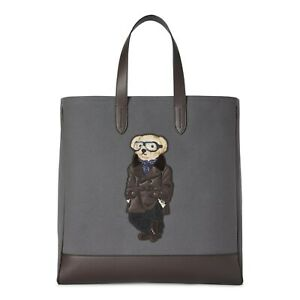 Ralph Lauren Purple Label Men's Grey Aviation Pilot Leather Polo Bear Tote Bag