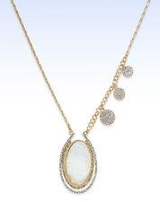 Inc International Concepts Gold -Tone White Stone Asymmetrical Saturn Pendant