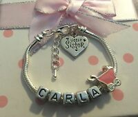 Personalised ANY NAME childrens girls pink pram charm bracelet gift box