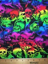 """100% Cotton Fabric Floating SKULLS Bold Colors 18""""x22"""" FQ DIY Mask / Quilting"""