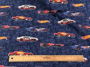 *Remnant 85cm x 110cm* - Riley Blake Hot Wheels Main Navy Woven Cotton