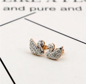 Rose gold Red Black Crystal Swan Titanium Stainless Steel Earrings Gift Box PE22
