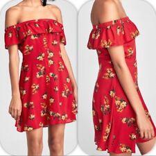 ZARA RED OFF SHOULDER FLORAL SHORT DRESS KLEID BLUMEN SCHULTERFREI Gr. L NEU