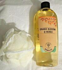 New The Orange Tree 8 oz Shower Gel & Pouf on a Rope Orange Blossom & Neroli Set