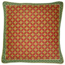 """17"""" x 17"""" Handmade Wool Needlepoint Gold Red Green Checker Pillow"""