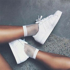 Women White Fishnet Ankle High Socks Lady Mesh Lace Fish Net Short Socks New AU