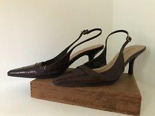 """Etienne Aigner 6 1/2 M """"VROOM"""" mock crock sling back Heels Pointy Toe Shoe gator"""