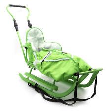 Piccolino Set Grün Kinderschlitten Babyschlitten Fußsack Schiebe Schlitten