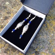 Genuine blue Lapis lazuli gemstone, all sterling silver Bali beads and hooks