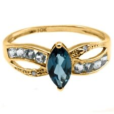 London Blue Topaz in 10k Yellow Gold-LIght Blue Topaz and Diamond Accents Sz 7.5