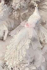 Shabby Victorian Chic White Peacock Bird Pink Rose Christmas Tree Ornament