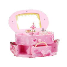 Makeup Mirror Music Box Jewelry Storage Case Cartoon Pink Rotating Ballerina Kid