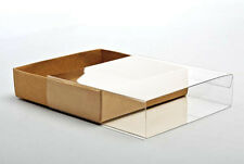 "5 Flat Kraft Paper Box Bases + Clear Sleeves; 3 3/4"" x 1"" x 5 3/8"" Boxes."