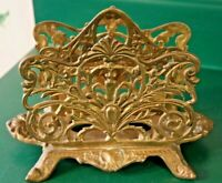 Vintage Double Letter Holder Brass Ornate Beautiful 2 Mail Slots Organizer