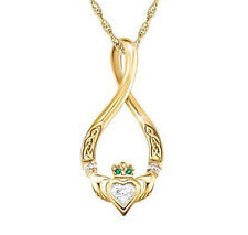 Ireland,Claddagh and Celtic Irish 'Infinity' Diamond And Emerald Pendant
