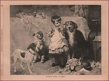 Dogs Beg Little Girl for Treat, antique engraving, print, original 1884