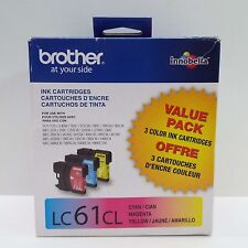 GENUINE BROTHER LC61CL CYAN MAGENTA YELLOW INK CARTRIDGE EXP 2017.11 (F2800)