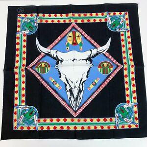 Vintage Black Longhorn Skull Bull Western Native American Bandana USA RN #16463