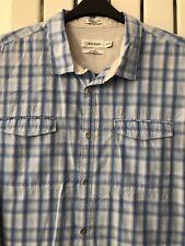 Calvin Klein Shirt Mens XXL Blue Check Cotton Lightly Worn