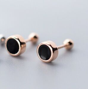 925 Sterling Silver Black Round Screw Back Stud Earring A1096