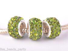 10pcs 12X9mm Rhinestone European Findings Loose Big Hole Beads Olive Green