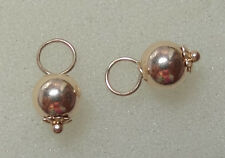 Fancy Hollow 6mm Ball Drops INTERCHANGEABLE Earring Charms SOLID 14K YG 1 Pair