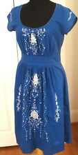 LIL Anthropologie Size 2 Harissa Peasant Embroidered Blue Dress