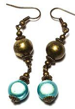 Long Miracle Bead Earrings Antique Bronze Style Pierced Hook Dangle Boho Hippy