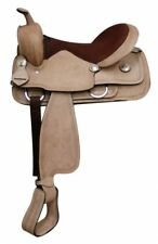 """Full Rough Out Leather Western Saddle Full QH Bars Engraved Conchos 16"""" NEW"""