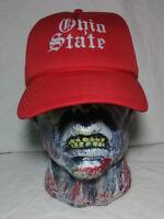Ohio State University Snapback Hat Ball Cap Red Gray Columbus Ohio Vintage 1980s