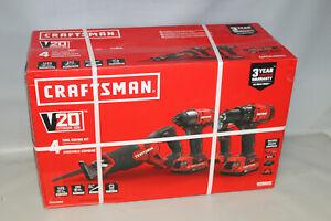 Craftsman CMCK400D2 20V 4 Tool Combo Kit NEW Drill Impact Saw Light