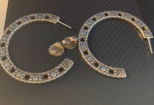 """John Hardy Dot 925 Sterling Silver Large Flat Hoop Earrings 1 7/8"""""""
