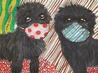 Affenpinscher in Quarantine Art Print 4 x 6 Dog Collectible Signed Artist KSams
